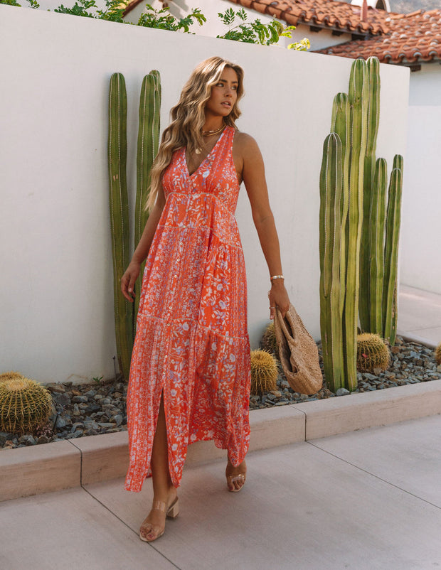 Trystan Floral Crochet Tiered Maxi Dress - Coral view 10