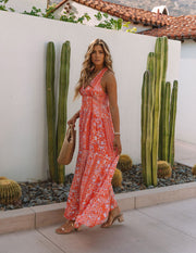 Trystan Floral Crochet Tiered Maxi Dress - Coral view 11