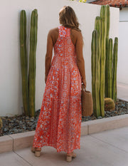 Trystan Floral Crochet Tiered Maxi Dress - Coral view 2