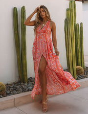 Trystan Floral Crochet Tiered Maxi Dress - Coral view 3