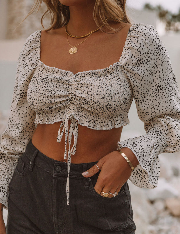 Alise Smocked Spotted Ruched Crop Blouse view 7
