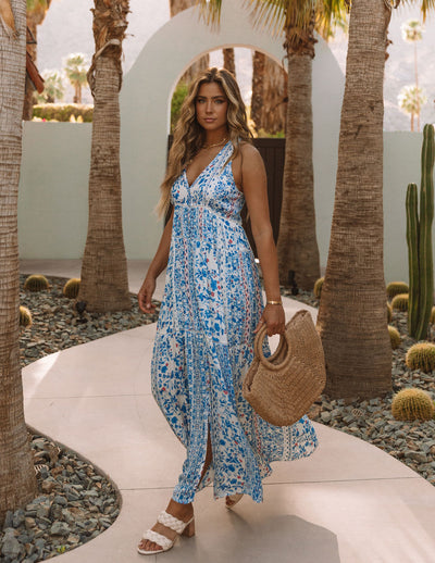 Trystan Floral Crochet Tiered Maxi Dress - Blue