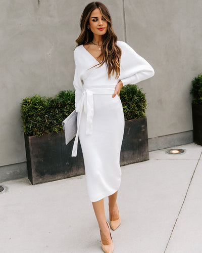 Yara Drape Knit Midi Sweater Dress - Ivory