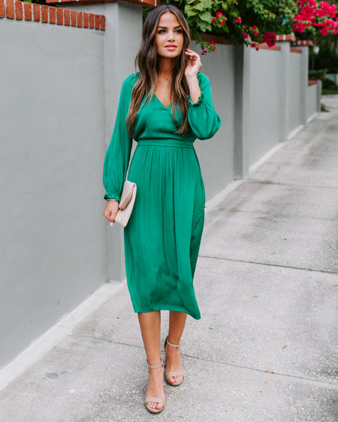 Clean Sweep Satin Midi Dress