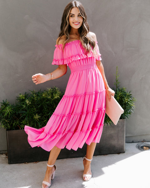 Instrumental Off The Shoulder Ruffle Midi Dress - Candy Pink