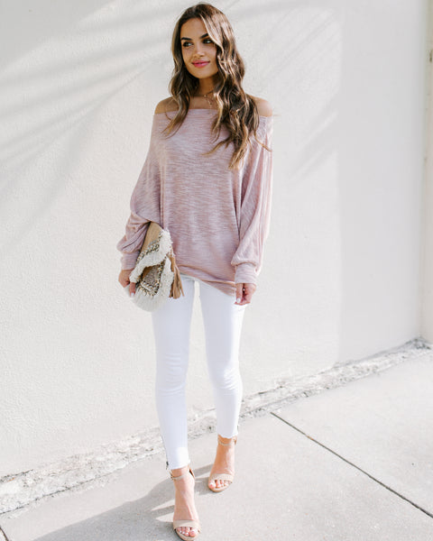 Staycation Off The Shoulder Dolman Sweater - Rose