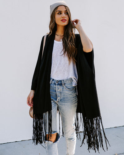 Rocklin Fringe Cardigan - Black
