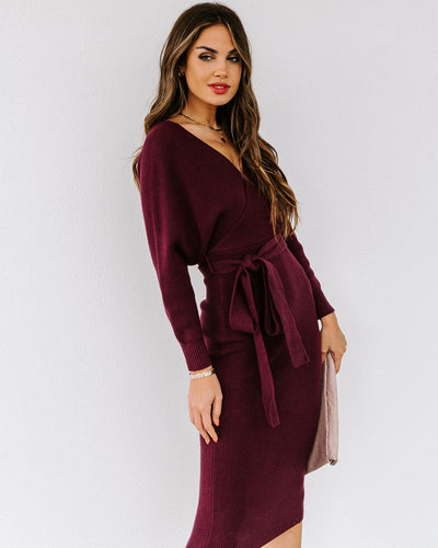 Yara Drape Knit Midi Sweater Dress - Plum