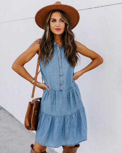 Phoebe Collared Button Down Chambray Dress
