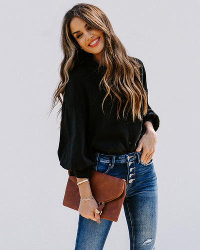 No Effort Puff Sleeve Button Down Blouse - Black