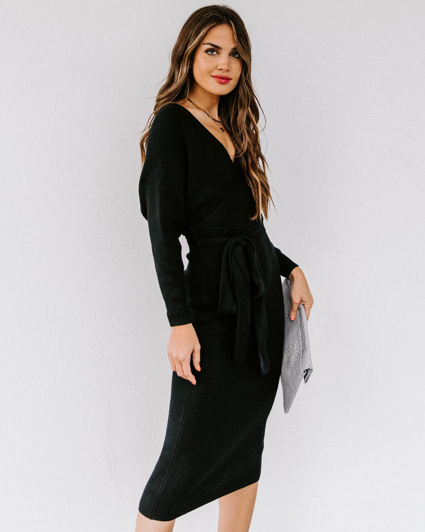 Yara Drape Knit Midi Sweater Dress - Black