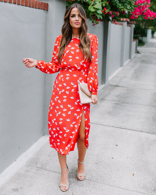 Display Your Love Floral Midi Dress - Coral - FINAL SALE
