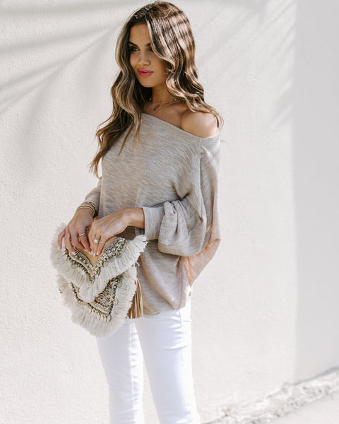 Staycation Off The Shoulder Dolman Sweater - Taupe