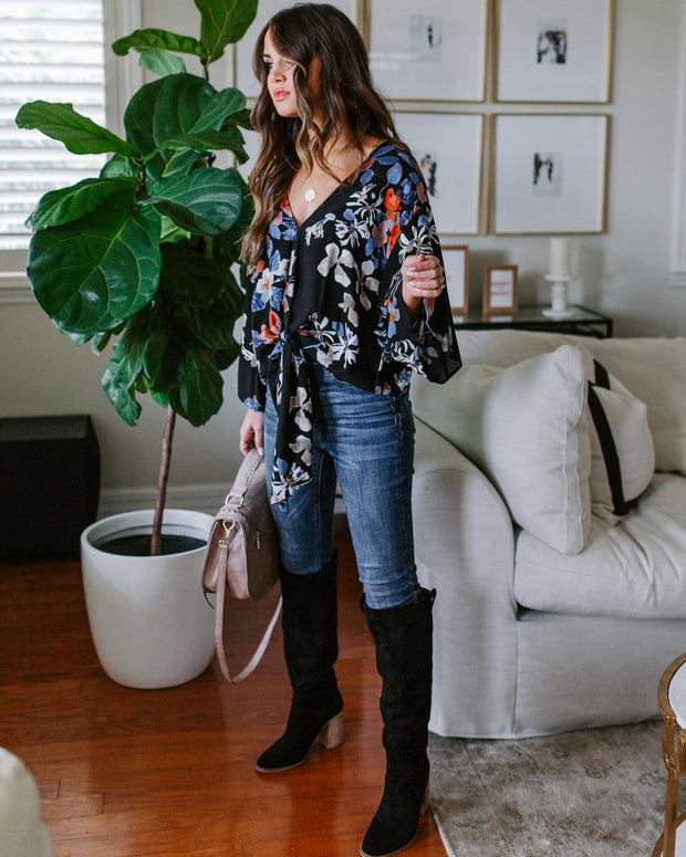Bare Branches Floral Tie Top - Black - FINAL SALE