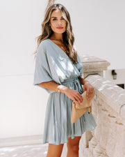 Leslie Pocketed Rope Tie Dress - Dusty Blue