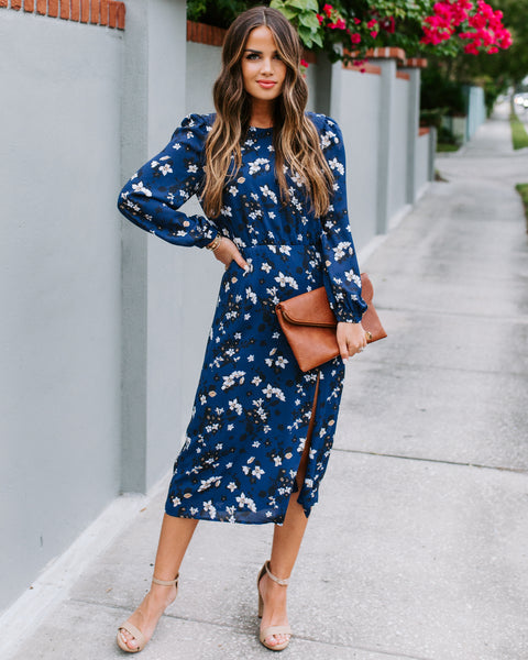 Display Your Love Floral Midi Dress - Navy