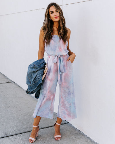 Brilliant Strapless Pocketed Tie Dye Knit Jumpsuit