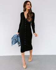 Colley Button Down Ribbed Knit Midi Dress