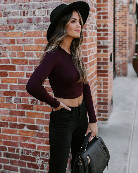 Stereotype Cropped Long Sleeve Top - Burgundy
