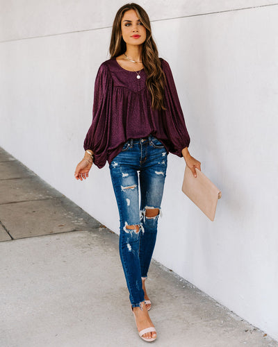 Extend Your Heart Balloon Sleeve Blouse - Merlot