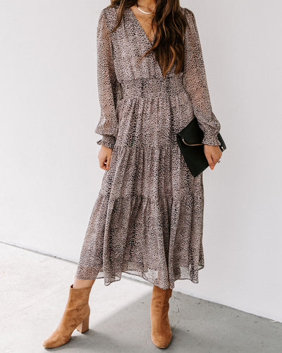 Alissa Smocked Tiered Midi Dress