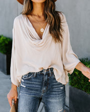 Karly Woven Cowl Neck Top - Cream - FINAL SALE