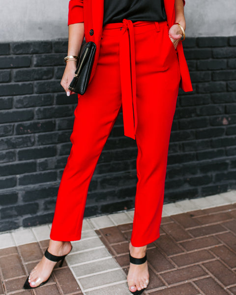 Red My Mind Pocketed Tie Pants - FINAL SALE