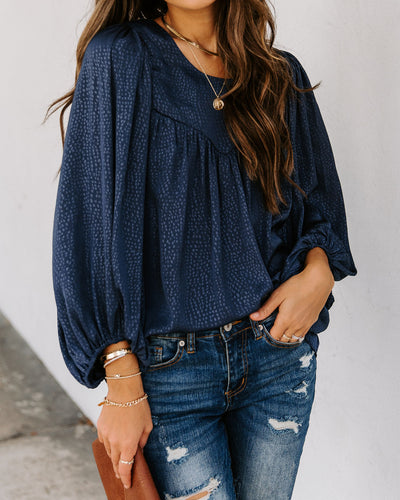 Extend Your Heart Balloon Sleeve Blouse - Navy