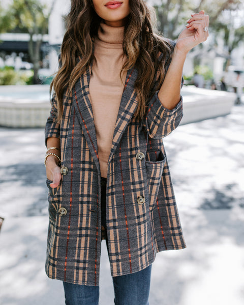 Shoreditch Pocketed Plaid Coat