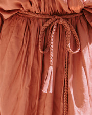 Leslie Pocketed Rope Tie Dress - Rust