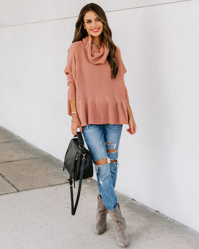 Troy Cowl Neck Peplum Sweater
