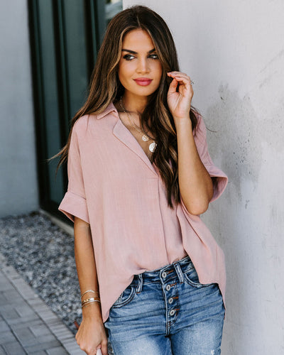 Aaron Collared Linen Blend Top - Dusty Pink