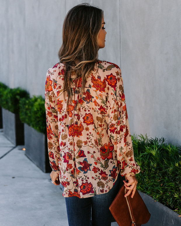 Time After Time Floral Metallic Blouse