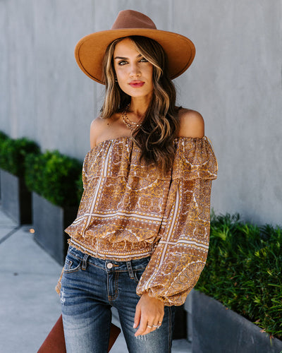 Maize Printed Smocked Off The Shoulder Blouse