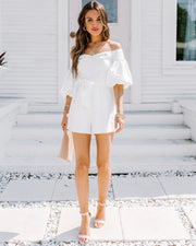 Rafi Pocketed Off The Shoulder Puff Sleeve Romper