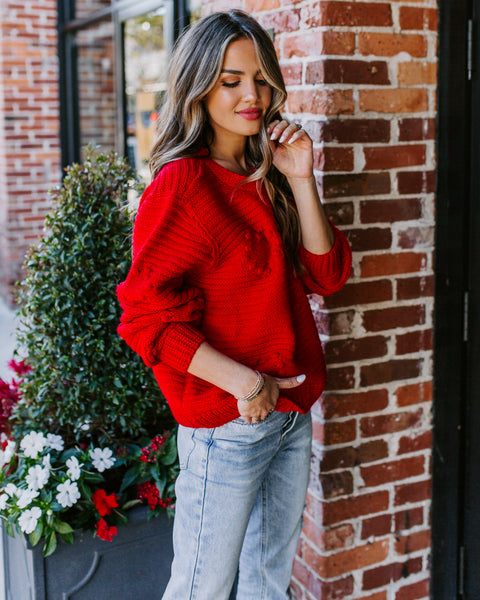 In A Heartbeat Knit Pom Sweater