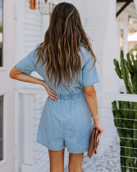 Bondi Pocketed Chambray Button Down Romper