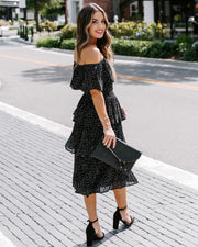 After Dark Off The Shoulder Tiered Pleated Midi Dress