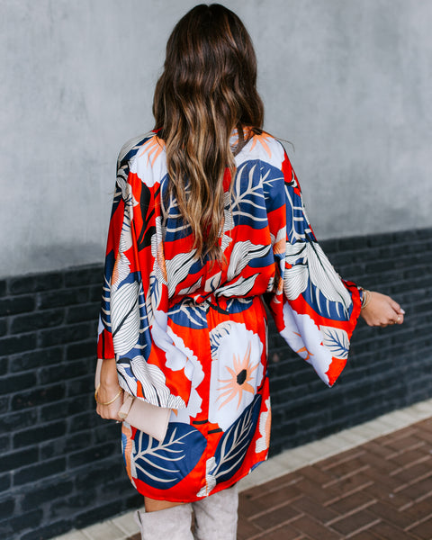 Bright And Early Printed Kimono Wrap Dress  - FINAL SALE