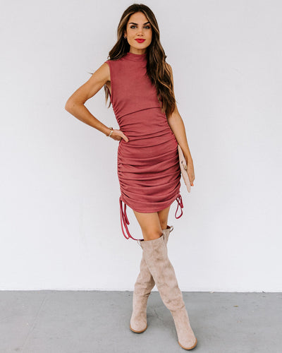 Tula Sleeveless Ruched Knit Dress - Rose
