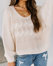 Addison Cropped Cable Knit Sweater - Cream