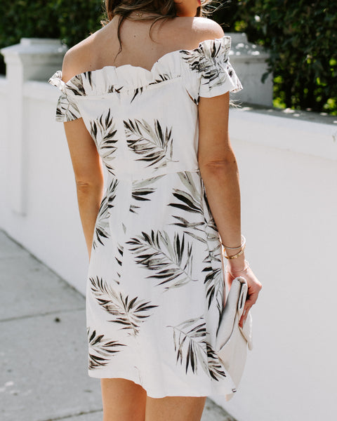 Florida Palms Off The Shoulder Ruffle Dress