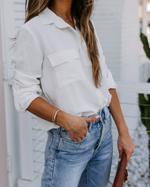 A For Effort Collared Button Down Blouse - Off White