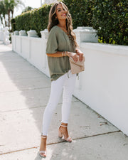 Tundra Lace Up Knit Top - Olive