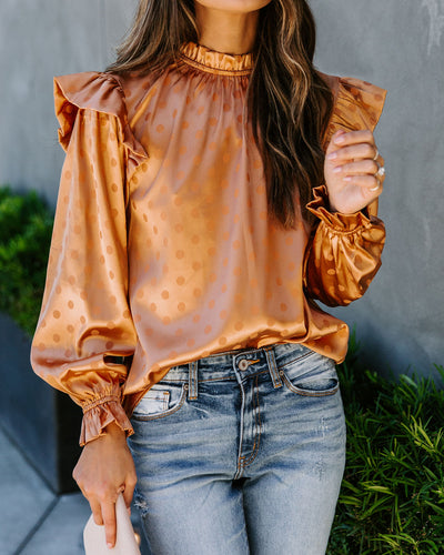 Cornucopia Satin Embossed Polka Dot Blouse