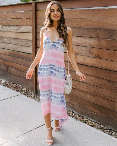 Dezie Tie Dye Asymmetrical Chiffon Midi Dress