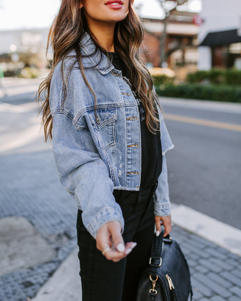 Derek Distressed Cropped Denim Jacket