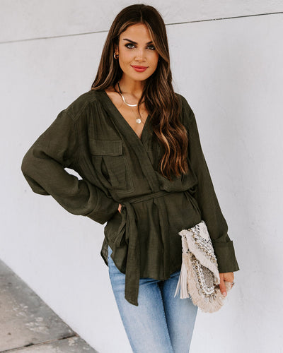 Grace Sheer Wrap Blouse - Olive