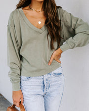 Hailey Cotton Cropped Knit Top - Olive