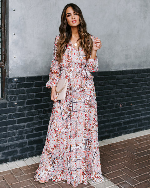 Choose Wisely Long Sleeve Printed Maxi Dress